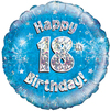Oaktree - 18 inch Foil Balloon - Happy 18th Birthday - Blue Holographic Cover