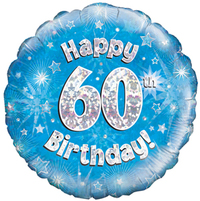 Oaktree - 18 inch Foil Balloon - Happy 60th Birthday - Blue Holographic - Cover