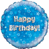 Oaktree - 18 inch Foil Balloon - Happy Birthday - Blue Holographic