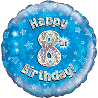 Oaktree - 18 inch Foil Balloon - Happy 8th Birthday - Blue Holographic - Cover