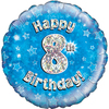 Oaktree - 18 inch Foil Balloon - Happy 8th Birthday - Blue Holographic