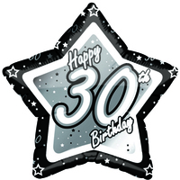 Creative Party - 18 inch Black/Silver Star Balloon - Age 30 - Cover