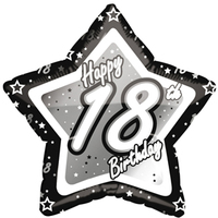 Creative Party - 18 inch Black/Silver Star Balloon - Age 18 - Cover