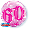 Qualatex - 22 inch Single Bubble Balloon - 60th Birthday - Pink Starburst Sparkle Cover
