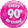 Oaktree - 18 inch Foil Balloon - Happy 90th Birthday - Pink Holographic