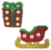 Seasons Greetings Tinsel Wall Plaques - Present & Sleigh (Pack of 12)