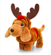 Keel Toys - 26cm Douggie the Sausage Dog With Xmas Outfits - Reindeer