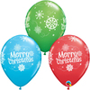 Qualatex - 11 inch Latex Balloons - Special Merry Christmas Snowflakes (Pack of 25)