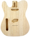 Allparts Left-Handed Electric Guitar Swamp Ash Unfinished Replacement Body for Fender Telecaster Style Guitars with Traditional Routing (Natural)