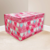 Kids Folding Storage Chest - Hearts - Cover