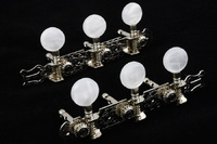 Allparts Acoustic Guitar Machine Heads with Round Buttons for Slotted Headstocks (Nickel and White) - Cover