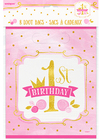 Unique Party - 1st Birthday Loot Bags - Pink/Gold (Pack of 8) Cover