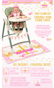 Unique Party - Pink/Gold 1st Birthday High Chair Kit - Cover