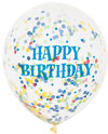 Unique Party - Clear 12 inch Birthday Bright Assorted Confetti Balloons (Pack of 6)