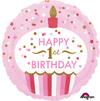 Anagram - 18 inch Circle Foil Balloon - 1st Birthday Cupcake Girl Cover