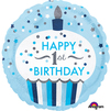 Anagram - 18 inch Circle Foil Balloon - 1st Birthday Cupcake Boy