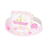 Unique Party - Pink/Gold 1st Birthday Hats (Pack of 6) - Cover