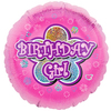 Anagram - 18 inch Circle Foil Balloon - Pink Flowers Birthday Girl