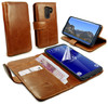 Tuff-Luv Vintage Genuine Leather Folio Wallet Case Cover and Stand for Galaxy S9 Plus - Brown