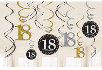 Amscan - Sparkling Gold Celebration 18th Birthday - Swirls Decorations (Pack of 12) - Cover