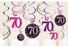 Amscan - Sparkling Pink Celebration 70th Birthday - Swirls Decorations (Pack of 12) Cover
