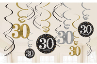 Amscan - Sparkling Gold Celebration 30th Birthday - Swirls Decorations (Pack of 12) - Cover