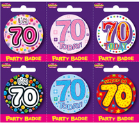 Expression Factory - Small Badges - Age 70 (Pack of 6) - Cover