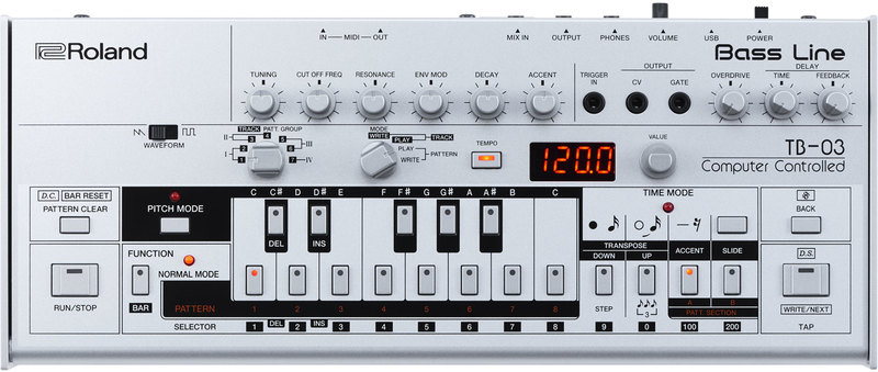 Roland TB-03 Bass Line Synth Sound Module (Silver)