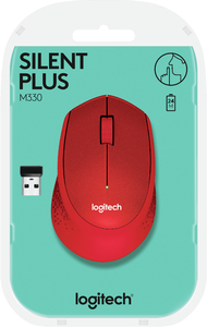 Logitech - M330 Silent Cordless Notebook Optical Mouse - Red - Cover