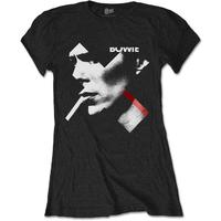 David Bowie X Smoke Red Women's Black T-Shirt (Small)