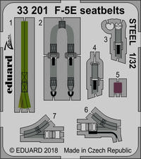 Eduard - Photoetch (Zoom):: 1/32 - F-5E seatbelts STEEL (Kitty Hawk) (Plastic Model Kit Add-On) - Cover