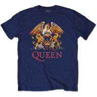 Queen Classic Crest Men's Navy T-Shirt (X-Large) - Cover