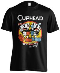 Cuphead - Don't Deal Mens Black T-Shirt (Large)