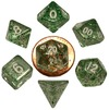 Metallic Dice Games - Set of 7 Polyhedral 10mm Dice - Ethereal Green