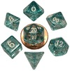 Metallic Dice Games - Set of 7 Polyhedral 10mm Dice - Ethereal Light Blue