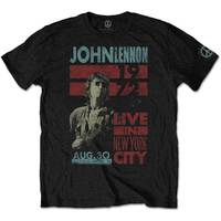 John Lennon Live In NYC Men's Black T-Shirt (Small) - Cover