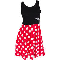 Minnie Mouse Women's Black and Red Polka Dot Dress (Small)