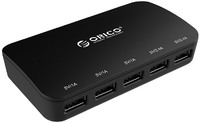 Orico 25W 5 Port USB Smart Desktop Charger with Power Button - Black - Cover