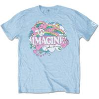 John Lennon Rainbows, Love & Peace Men's Light Blue T-Shirt (Medium) - Cover