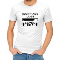 I Don't Age I Level Up Men's White T-Shirt (X-Large)
