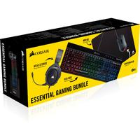 Corsair Essential Gaming Bundle - HS50 Stereo Headset, K55 RGB Keyboard, HARPOON RGB Mouse, MM100 Mousepad (PC)