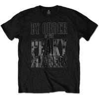 Peaky Blinders By Order Infill Men's Black T-Shirt (Small)