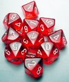 Chessex - Set of 10 D10 Dice - Translucent Red with White (Clamshell)