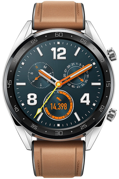 d66dc20722 Huawei Watch GT Classic Smartwatch with Saddle Brown Leather Strap (Huawei  Watch GT Classic B19V