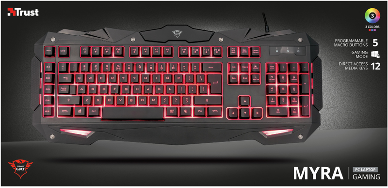 967e805ccad Trust - GXT 840 Myra Gaming Keyboard (3 Color LED) - Electronics ...