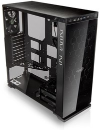 InWin - 805C Black ATX Desktop Gaming Chassis Tempered Glass Side Panel Red LED Front Panel