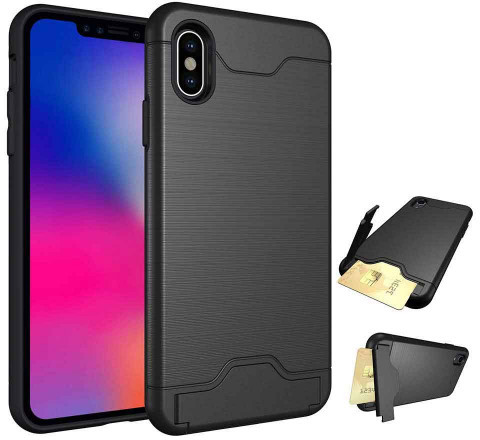 promo code 36da6 93f90 Tuff-Luv Shockproof Dual Armour Case Stand and Card Slot for Apple iPhone X  and XS - Black