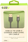 Gizzu - USB 2.0 A to USB-C 2m Cable - Black