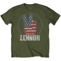John Lennon Peace Fingers US Flag Men's Green T-Shirt (X-Large) - Cover