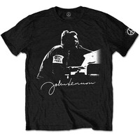 John Lennon People For Peace Men's Black T-Shirt (XX-Large) - Cover